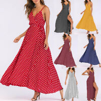 Women's V-Neck Sleeveless Caims Beach Polka Dot Bandage Long Maxi Dress Sundress