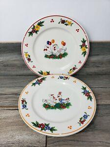 "Fine Porcelain China Plate Geese Celebration Dinner Plates 10"""