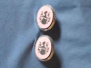 Vintage SWANK Silver-Tone Metal Pink & Black Lucite Heraldic Shield Cufflinks