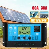 30-60A PWM 12V/24V Solar Charger Controller USB Dual Solar Panel Regulator