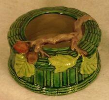 Made in Japan MAJOLICA STYLE PLANTER Basketweave Vtg MIJ Pottery Leaves Branch