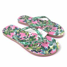 Vera Bradley Women's Medium 7-8 Flip Flops Tropical Paradise Pink Green NEW NWT