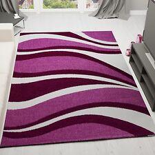 Modern Kurzflor Teppich Wohnzimmer Preiswert Lila Pink Weiss Wellen Muster