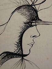 René William THOMAS(1910-)Dessin encre de chine surréalisme french listed artist