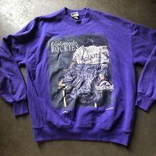Men's Vintage Nutmeg Mills USA Colorado Rockies Purple Crewneck Sweatshirt Sz XL