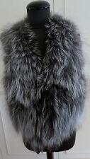 Fourrure véritable renard argenté gilet de gilet, Sans Manches, Gilet matelassé Gilet sz L UK14 EU42US12