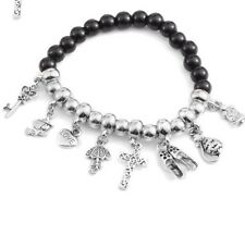 Black Simulated Multi Gemstone Beads Silvertone Bracelet with Charms(Stretchable