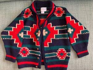 Child's Christmas Cardigan 100% Virgin Wool Sweater Size 4/5
