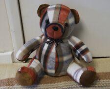 Heavy Terracotta Brown Blanket Tartan Teddy Bear Door Stop  Teddy Door Wedge