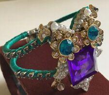 New Betsey Johnson Teal Blue Purple Pink Pearl Rhinestone OWL Cuff Bracelet
