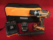 """NEW RIDGID 18V 1/2"""" Cordless Brushless Compact Hammer Drill Kit R86116K"""