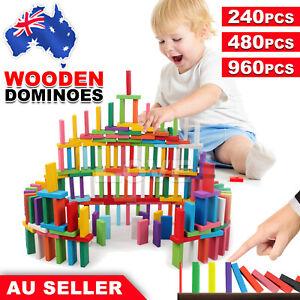 240/480/960pcs Wooden Domino Block Tiles Tumbling Dominoes Knock Down Toys AU