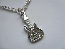 Great Argent & Strass Guitare Chaîne à gros maillons collier