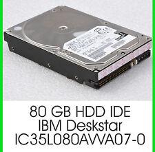 """3,5"""" 8,89cm 80 GB IDE Disco Rigido HDD IBM Deskstar IC 35 L 080 avva 07-0 7200u/m - f23"""