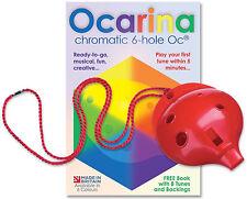 Plastic OCARINA – 6-hole Oc® with Music Booklet + FREE MP3 tracks –  6 colours