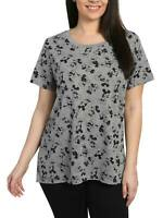 Juniors Plus Size Mickey Minnie Mouse All Over Print T-Shirt Gray