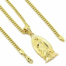 "Men's 14k Gold Plated Small Virgin Mary Pendant Hip-Hop 27"" 3mm Cuban Chain"