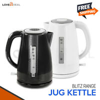 1.7L Blitz Cordless Jug Electric Kettle Tea Coffee Rapid Boil Safe 2200W Portabl