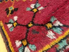 "Primitive 1920-1930s Antique Wool Pile 3'4""×10'8"" Natural Dye Runner Rug"