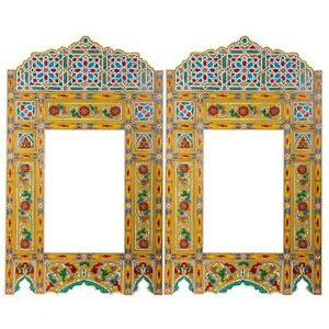 Set of 2 Painted Yellow hanging mirror frame, Moroccan Vintage farmhouse decor