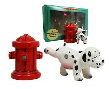 Cute Dalmation Dog & Fire Hydrant Ceramic Salt Pepper Shaker Set Home Decor Gift