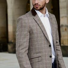Mens Cavani Tweed Designer Formal Vintage Check Tailored Blazer Jacket Suit Tan