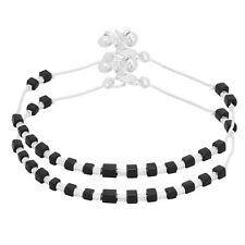 Indian Bollywood Black Crystal Silver Tone Payal Wedding Trendy Fashion Anklets