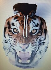 Unisex Tiger Animal Print Long Sleeve Pattern Hoodies Pullover M/L