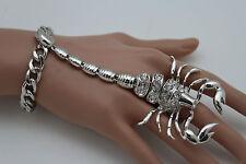 New Women Shinny Silver Scorpion Hand Chains Slave Bracelet Ring Fashion Jewelry