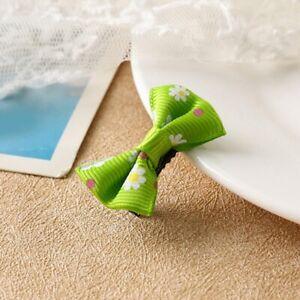 Cute Mini Green Bow Barrettes Sweet Girl Floral Hair Clips Kids Hair Accessories