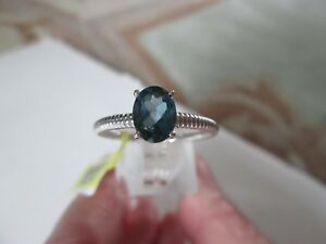 London Blue Topaz Platinum over Sterling Silver Ring TGW 1.45 cts.