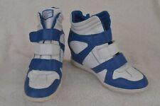SKECHERS Womens Sz 8 SKCH+3 Hidden Wedge High Heel High Top Sneakers White Blue