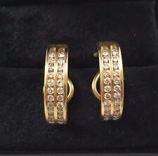 Vintage Signed Estate 14k solid yellow gold diamond half hoop clip earrings 6g