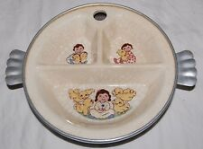 Vintage Excello Child Divided Plate Metal Porcelain Hinged Handles Baby Chicken