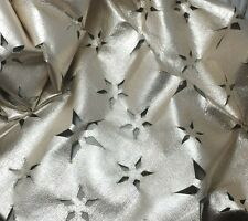 Perforated Star Floral Metallic SILVER Lambskin Leather Hide Piece #14