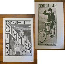 "1973 PRINT/POSTER/AD~1912 SIMPLEX BICYCLES~1915 FONGERS BIKES~16""x11"""