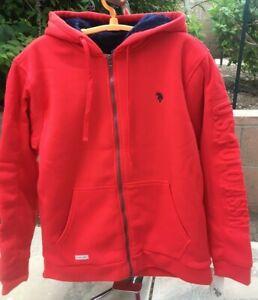 New Mens U S Polo Assoc Heavy Sweatshirt Full Zip Hoodie Faux Fur Lining Large