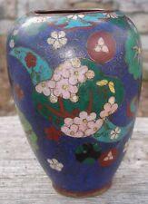 -Petit Vase Chinois ancien signé en metal décoré d'émaux Cloisonnés