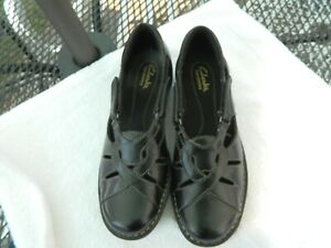 Clarks Bendables Black Leather Mary Janes Women's Shoes Sz 7.5 Wide Excellent