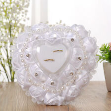 Blesiya Wedding Ring Pillow Heart Box with Pearls for Wedding Ceremony