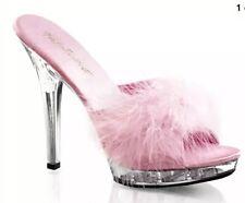 "Pink Feather Platform Heels Crystals Sexy 4 3/4"" Pleaser marabou slippers SZ 10"