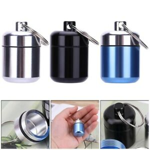 Waterproof Pill Box Case Holder Container Capsule Bottle Keyring Keychain~ lskn