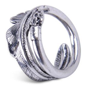 Feder Glücklicher Retro Verstellbar Ring Männer Frauen 925 Silber 7/9/11