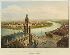 DRESDEN - Neustadt aus der Vogelschau - C.W. Arldt - kolor. Lithografie 1833