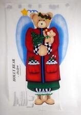 Vtg. ALMA LYNNE Holly Bear Angel Fabric Panel X-mas XL Wall Hanging