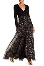 NWT Diane von Furstenberg DVF Aviva Contrast Skirt Wrap Maxi Dress~size 0~$998