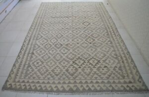 6'2 x 10 Handmade afghan tribal khotrang natural dye wool persian area kilim rug