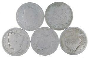 5 Better Date 1896 1887 1893 1889 1896 Liberty V Nickel Collection Lot *088
