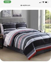 8 Pieces Stripe Soft Microfiber Bedding Comforter Sets with Pillow, Purple,Queen