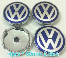 Set 60mm Blue Alloy Wheel Center Caps Logo Emblem for VW Golf Passat Polo